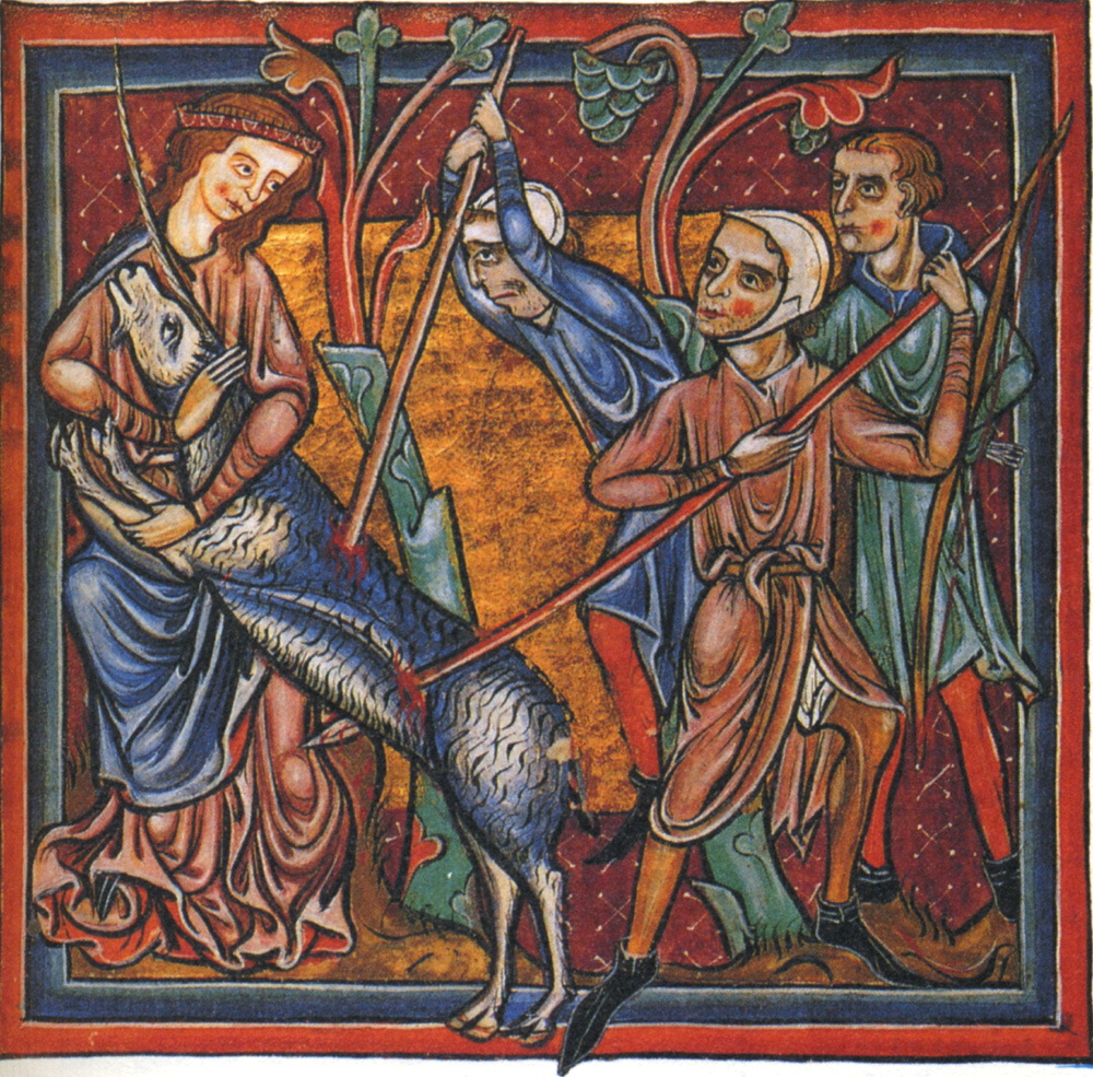 The unicorn hunt from a Bodleian Library manuscript