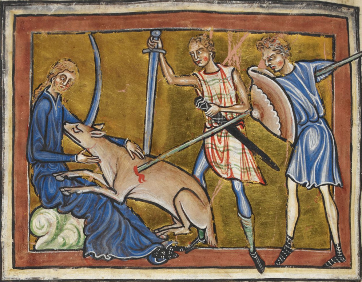 The unicorn hunt from a Royal Library manuscript